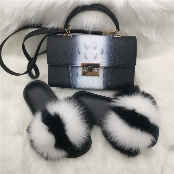 Black and White Fur Slides with Matching Alligator Print Bag Set