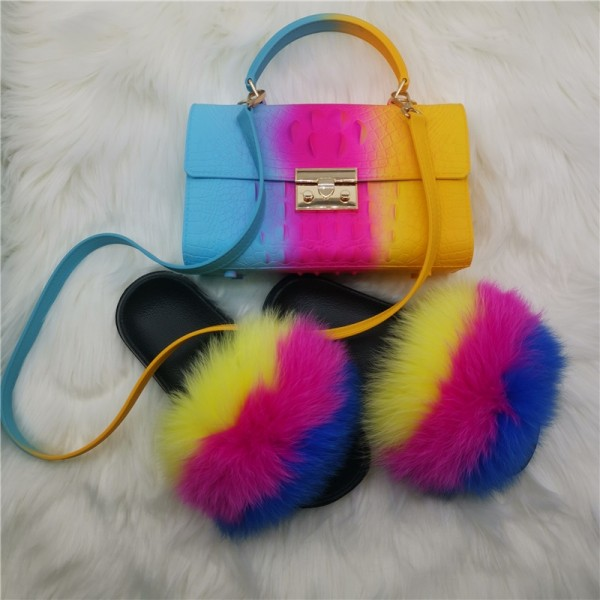 Colorful Fur Slides with Matching Alligator Print Handbag Set