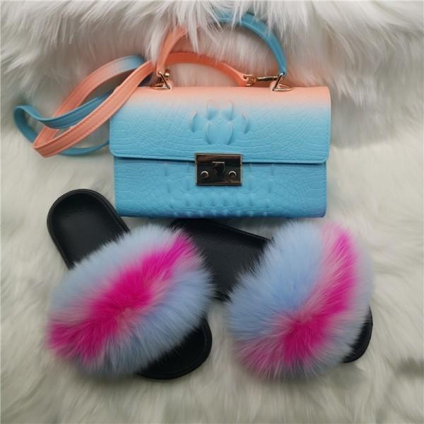 Sky Blue Matching Fur Slides and Alligator Print Jelly Handbag Set