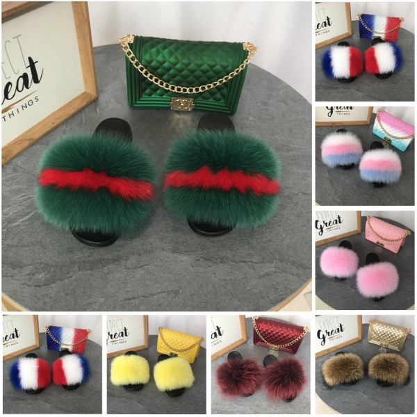 Fluffy Big Fur Slides with Matching Jelly Purse Set