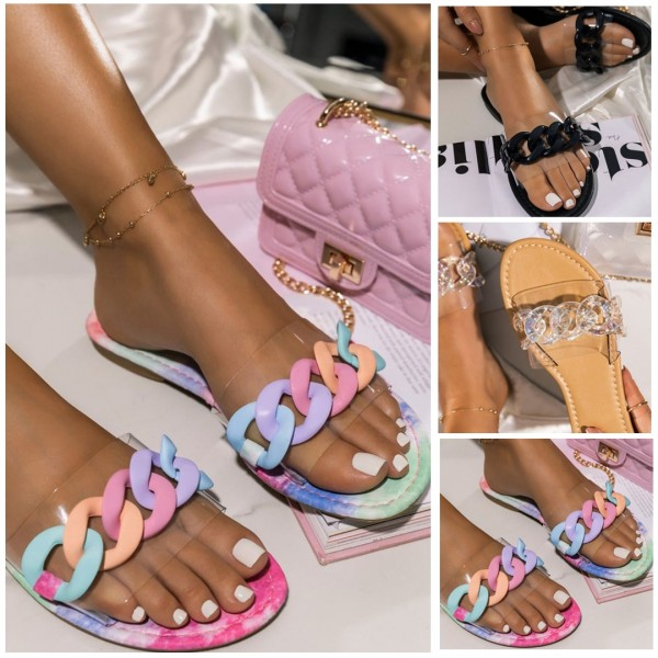 New Colorful Chain Decor Transparent Slide Sandals