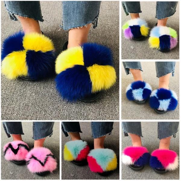 Multi-Color Big Fur Slides Women's Fluffy Furry Slides