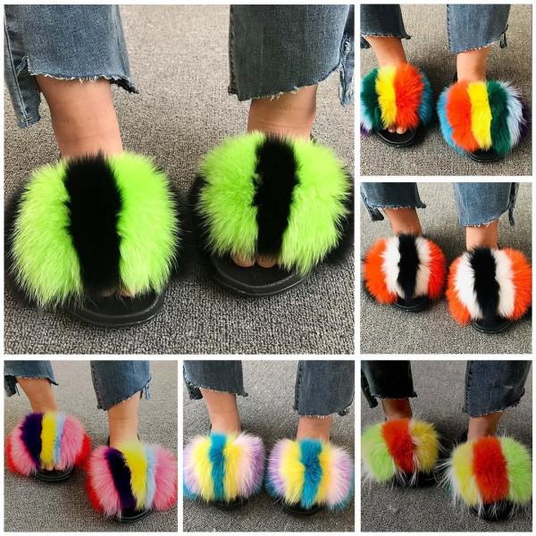 Multi-Color Striped Fur Slides Fluffy Big Furry Slippers