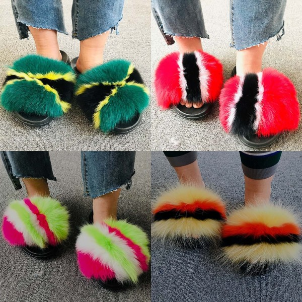 Jamaican Color Big Fur Slides Colorful Furry Slides
