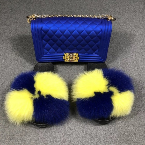 Blue and Yellow Fur Slides with Matching Jelly Purse Set