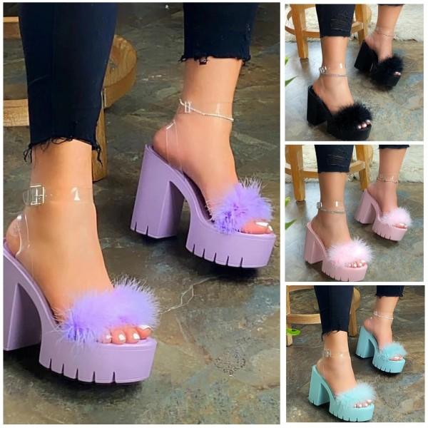 Chunky High Heels Platform Sandals with Fur