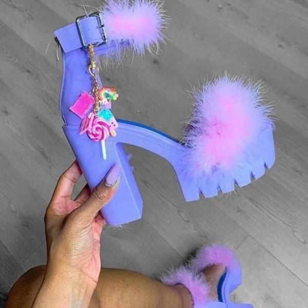 Chunky High Heels Platform Sandals with Fur Balls