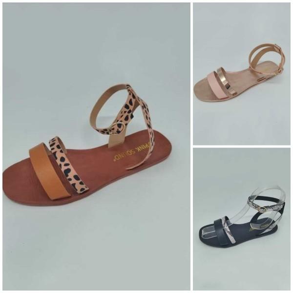 Women's Buckles Leather Sandals Straps Flat  Slides