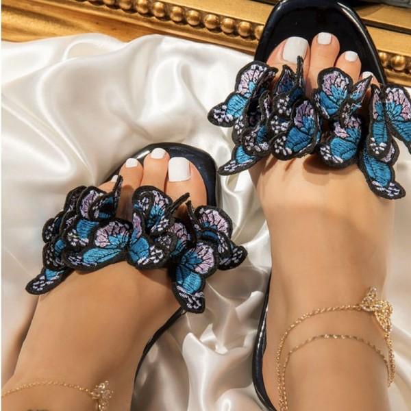 Butterfly Patterns Sandals Floral Print Flat Slides