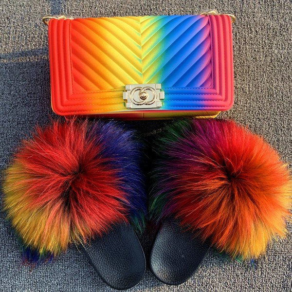 Rainbow Color Fur Slides with Matching Jelly Purse Set