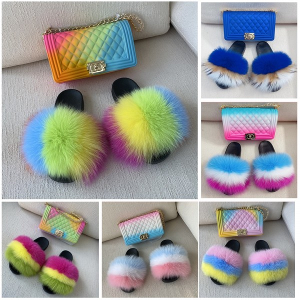 New Multi-Color Fur Slides with Matching Ombre Jelly Bag Set