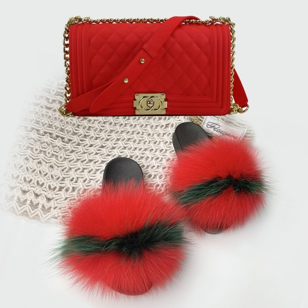 Fiery Red Fur Slides with Matching Jelly Purse Set