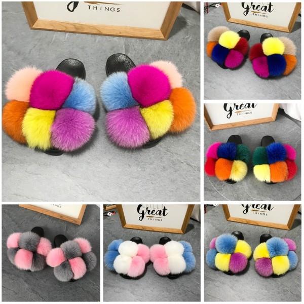 Colorful Pom Pom Fur Slides Women's Fluffy Fur Slippers