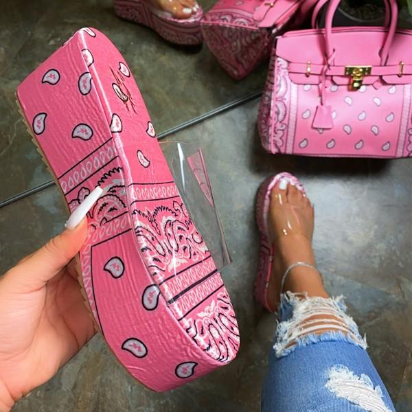Women's Bandana Platform Slide Sandals Transparent Upper Slippers