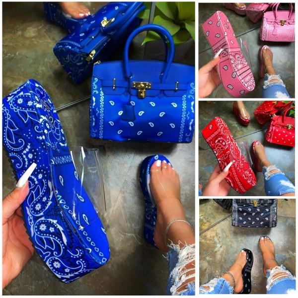 Bandana Platform Sandals with Matching Handbag Set