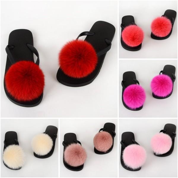 Colorful Pom Ball Fur Slides Furry Flip Flops Sandals
