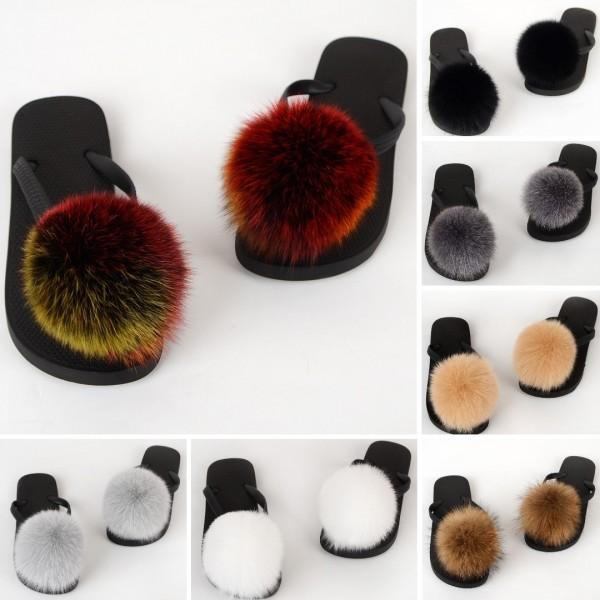 Colorful Pom Ball Fur Slides Furry Thong Sandals
