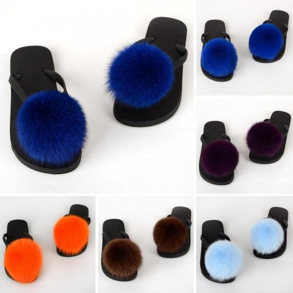 Furry Flip Flops Sandals Colorful Pom Ball Fur Slides