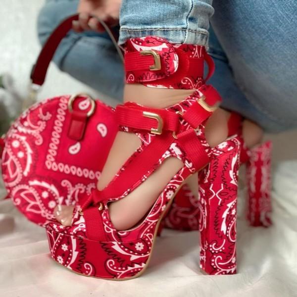 Bandana Chunky Heels Sandals with Matching Round Bag
