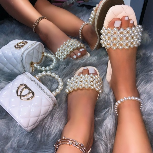 Women's Pearls Slide Sandals with Matching Bucket Bag