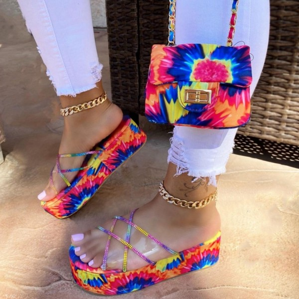 Tie Dye Platform Slide Sandals with Matching Shoulder Bag