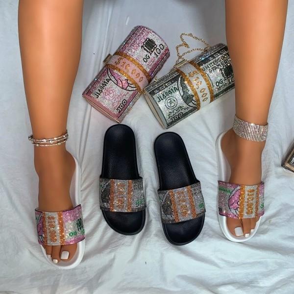Dollar Bill Slide Sandals with Matching Roll Rhinestone Clutch Bag