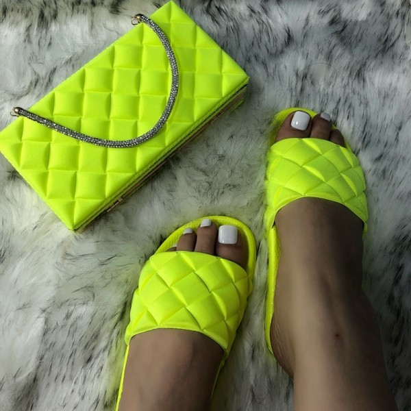 Puffy Slide Sandals with Matching Clutch Bag Set