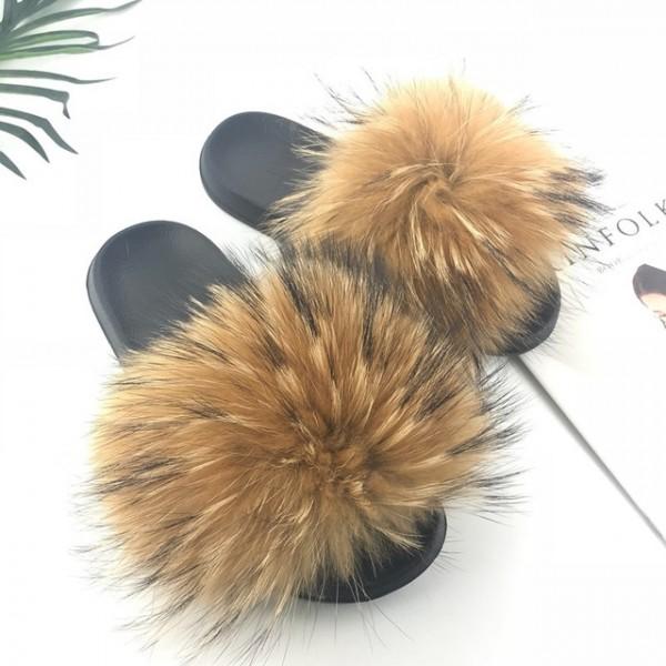 Brown Fur Slides Fluffy Women's Mink Fur Slippers