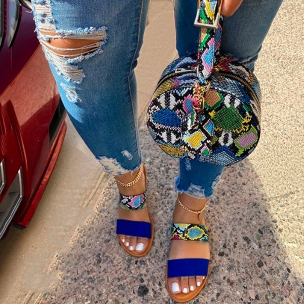 Blue Snakeskin Slide Sandals with Matching Round Handbag