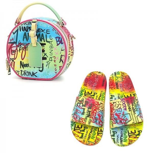 Graffiti Slide Sandals with Matching Round Handbag Set