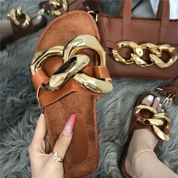 Metallic Big Chains Slide Sandals with Matching Handbag Set
