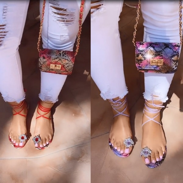 Flat Toe Ring Sandals with Matching Mini Handbag