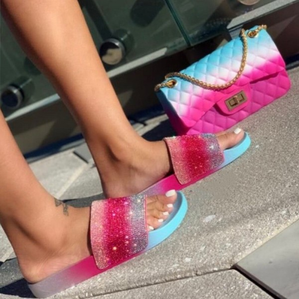 Ombre Rhinestone Slide Sandals with Matching Jelly Purse