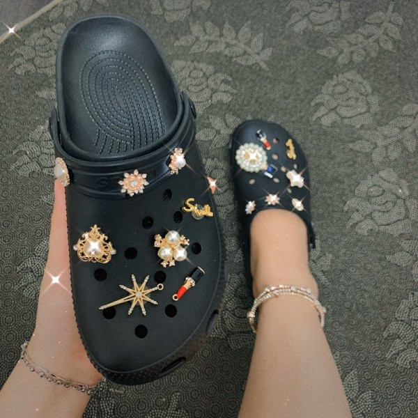Glittering Women's Clogs Pearls Decor Slides Shoes