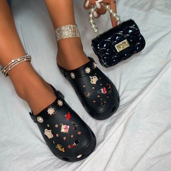 Women's Pearls Decor Clogs Shoes with Matching Handbags