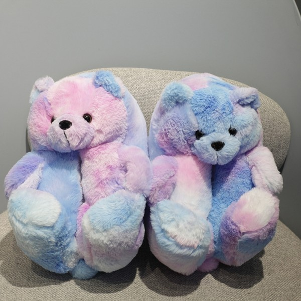 Tie Dye Teddy Slippers Plush Teddy Bear House Shoes