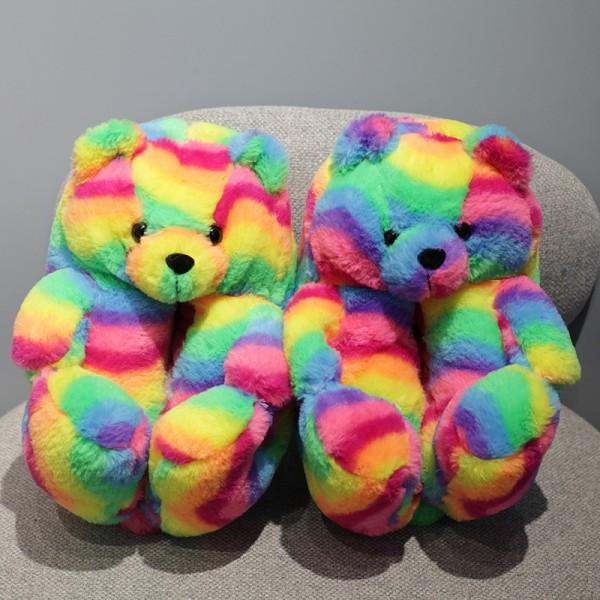 Rainbow Teddy Bear Slippers Lady Winter Indoor Cartoon Shoes