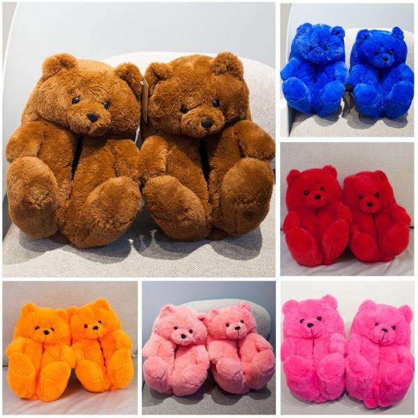 Women's Teddy Bear Slippers Plush Winter Cartoon House Slippers