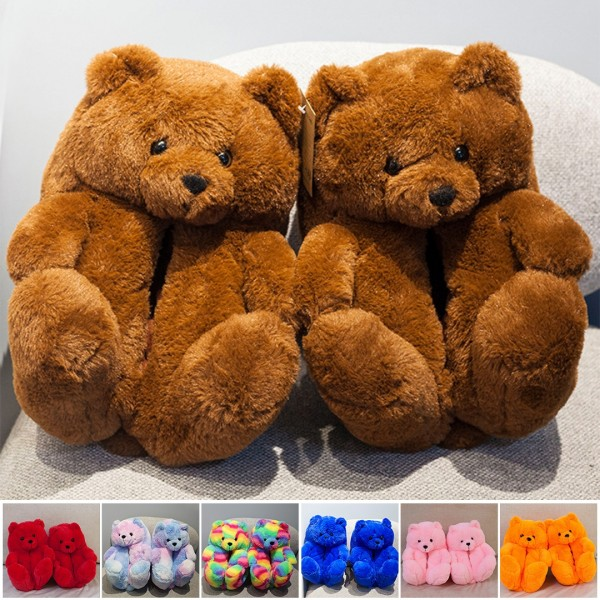 Cute Teddy Bear Slippers for Adults Warm Plush Indoor House Shoes