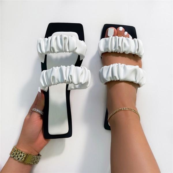 Latest Ruched Straps Sandals Women's Square Toe Flat Slides