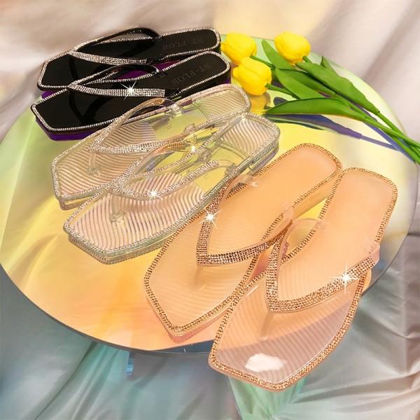 Women's Slide Sandals Glittering Crystals Flip Flop