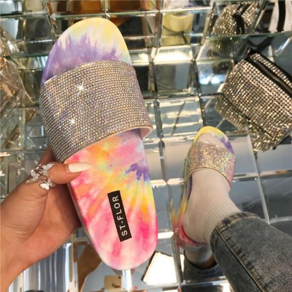 Women's Platform Sandals Tie Dye Sunflowers Slippers