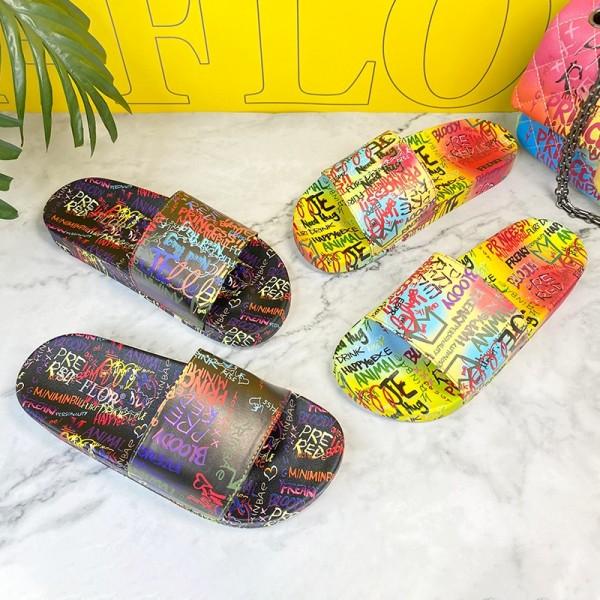 Women's Slide Sandals Letters Graffiti Slippers