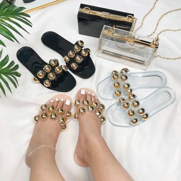 Women's Slide Sandals Shiny Big Beads Slippers
