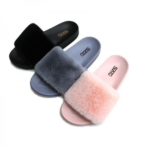 Women's Fur Slides  Fuzzy Slippers