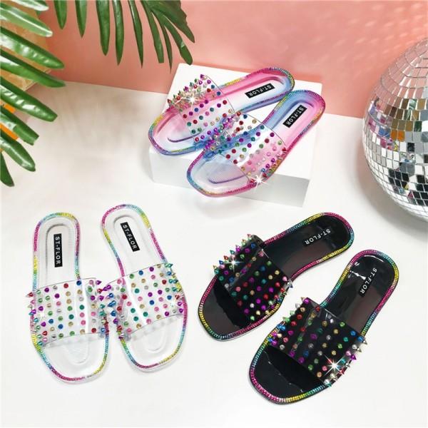 Women's Slide Sandals Glittering Rivet Slippers