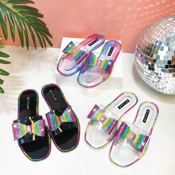 Women's Bowtie Sandals Glittering Beads Slippers