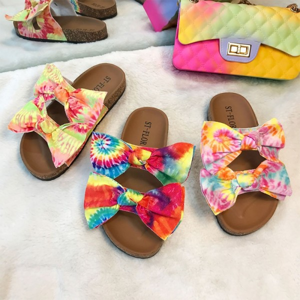 Women's Bowtie Sandals Tie Dye Sunflowers Print Slippers