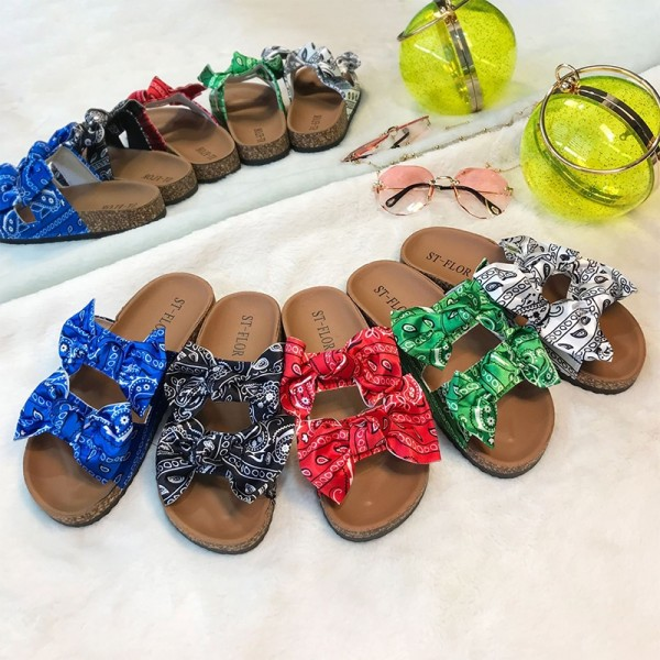 Women's Bowtie Sandals Floral Printed Slippers