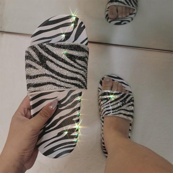 Rhinestone Shiny Slide Sandals Zebra Print Slippers